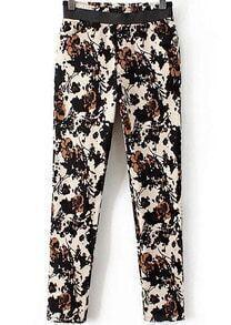 Black Elastic Waist Floral Pockets Pant