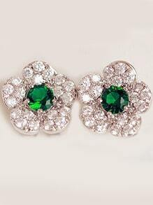 Green Gemstone Silver Diamond Flower Earrings