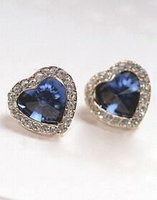 Blue Diamond Gold Heart Earrings
