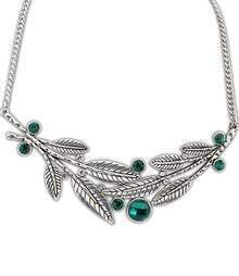 Green Gemstone Silver Leaves Necklace