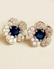 Blue Gemstone Silver Diamond Flower Earrings