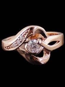 Gold Diamond Hollow Ring
