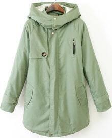 Green Hooded Long Sleeve Pockets Coat