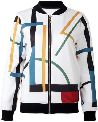 White Long Sleeve Multicolor Striped Jacket