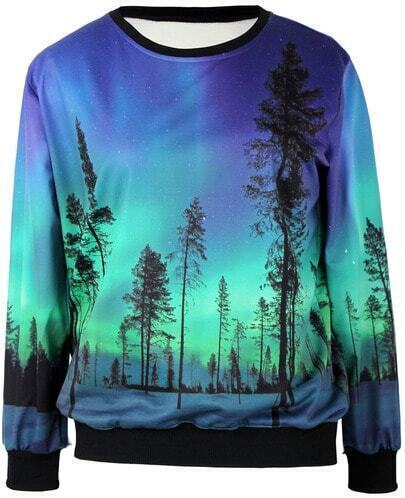 Blue Long Sleeve Trees Print Loose Sweatshirt
