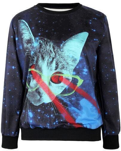 Sudadera gato galaxia manga larga-azul