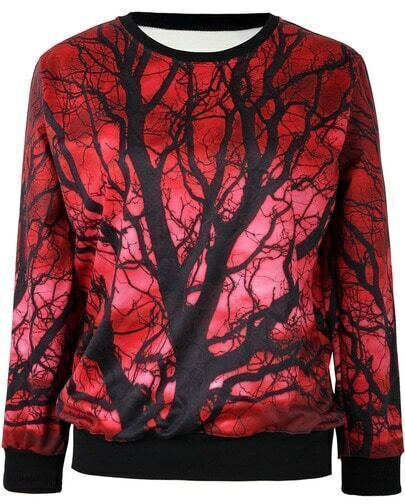 Red Long Sleeve Tree Print Loose Sweatshirt