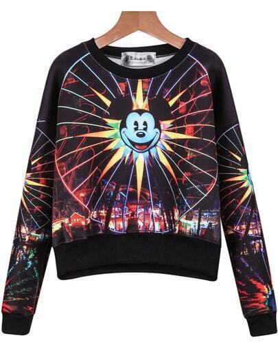 Black Long Sleeve Mickey Print Crop Sweatshirt