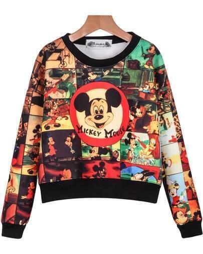 Yellow Long Sleeve Mickey Print Crop Sweatshirt