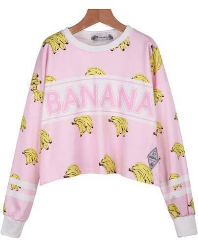 Pink Long Sleeve Banana Print Crop Sweatshirt
