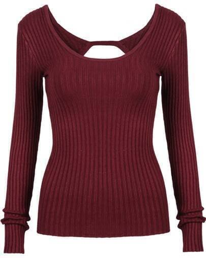 Wine Red Scoop Neck Long Sleeve Backless Knit Sweater