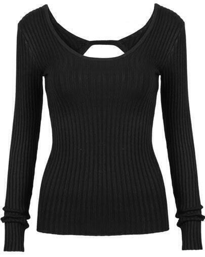 Black Scoop Neck Long Sleeve Backless Knit Sweater
