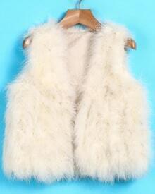 Apricot Faux Fur Crop Vest