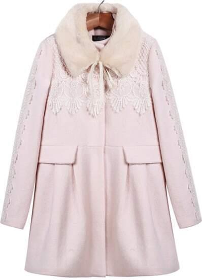 Pink Long Sleeve Floral Crochet Woolen Coat