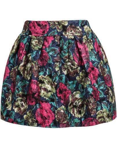 Blue Floral Flare Mini Skirt