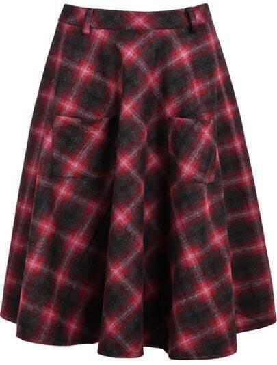 Red Pockets Plaid Skirt