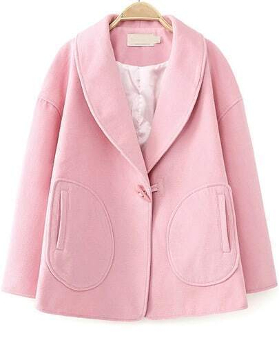 Pink Lapel Long Sleeve Loose Woolen Coat