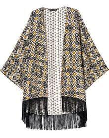 Yellow Geometric Print Tassel Loose Kimono