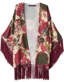 Apricot Floral Loose Tassel Kimono