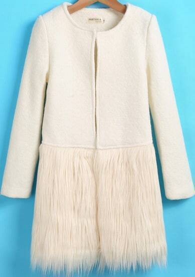 White Long Sleeve Contrast Faux Fur Woolen Coat