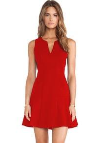 Red V Neck Sleeveless Ruffle Slim Dress