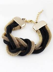 Black Gold Wound Chain Bracelet