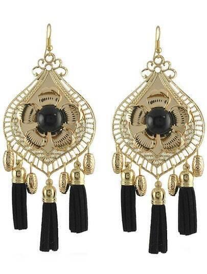 Black Gemstone Tassel Gold Dangle Earrings