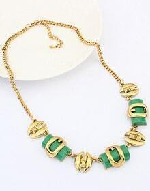 Green Gemstone Gold Buckle Chain Necklace