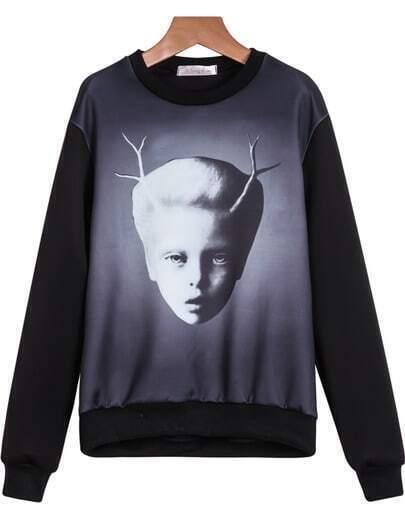 Black Long Sleeve Avatar Print Loose Sweatshirt