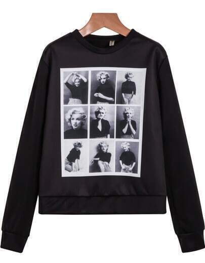Black Long Sleeve Monroe Print Crop Sweatshirt