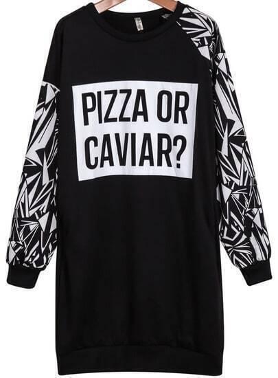 Black Long Sleeve Geometric Letters Print Sweatshirt