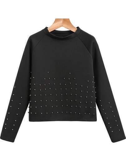 Black Long Sleeve Bead Crop Sweatshirt