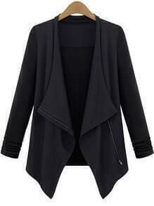 Black Long Sleeve Lapel Zipper Outerwear