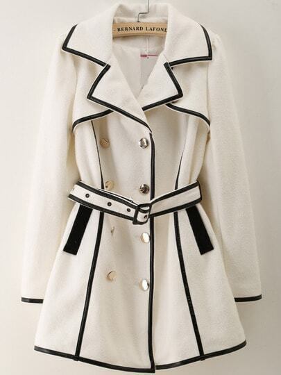 White Lapel Long Sleeve Contrast Trims Coat