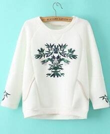 White Long Sleeve Embroidered Loose Sweatshirt