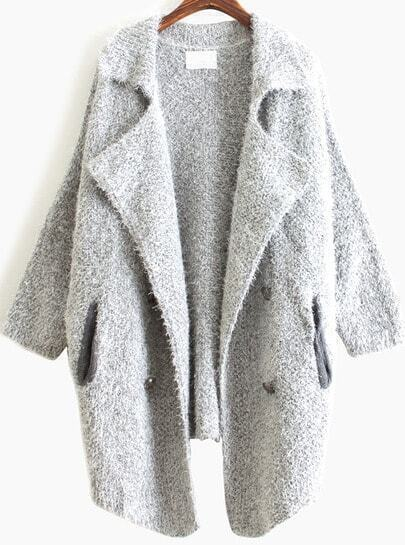 Grey Lapel Long Sleeve Vintage Loose Cardigan