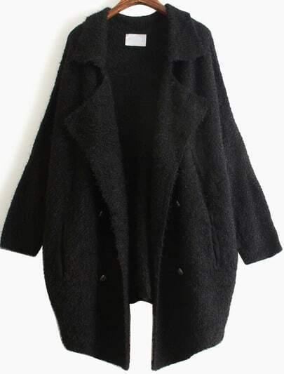Black Lapel Long Sleeve Vintage Loose Cardigan