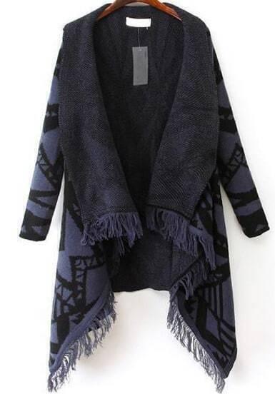Blue Long Sleeve Geometric Pattern Tassel Cardigan