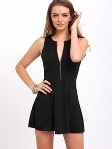 Black Round Neck Sleeveless Zipper Slim Dress