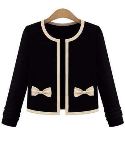 Black Long Sleeve Bow Embellished Crop Coat