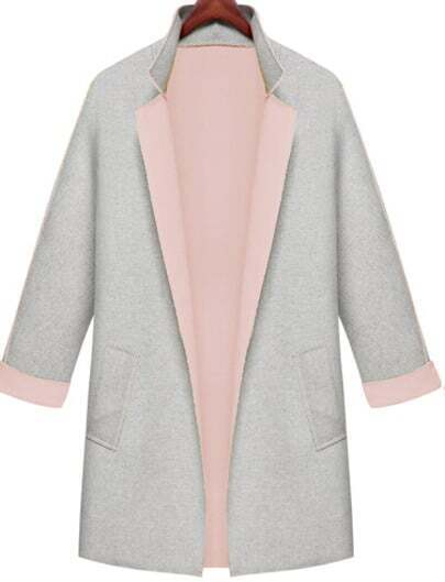 Grey Contrast Pink Collar Loose Pockets Coat