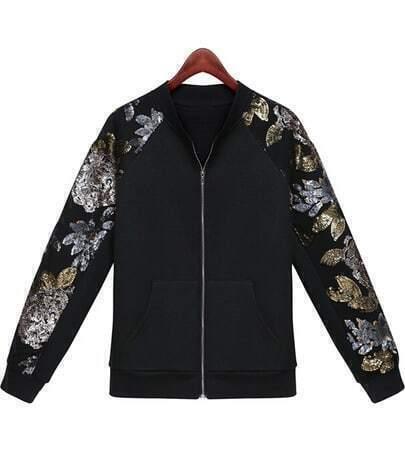 Black Long Sleeve Zipper Sequined Jacket