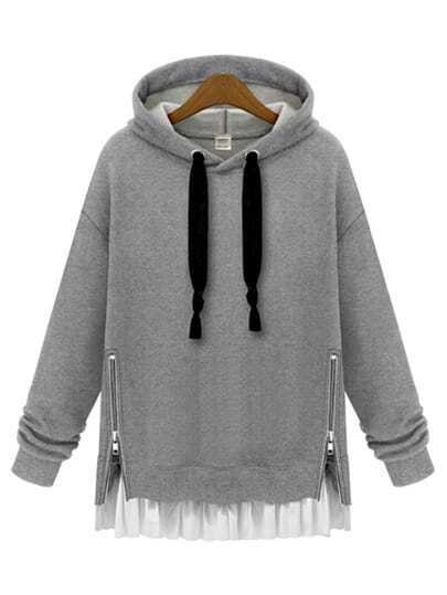 Grey Hooded Long Sleeve Zipper Loose Sweatshirt