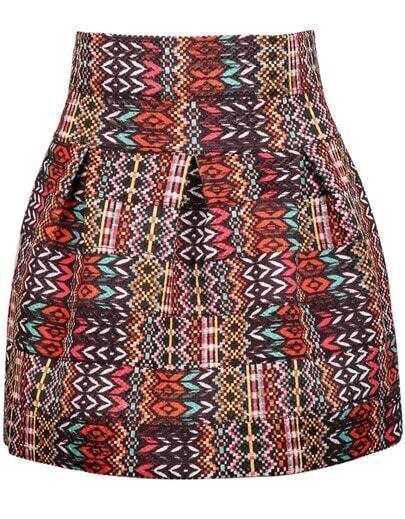 Orange Geometric Print Flare Skirt