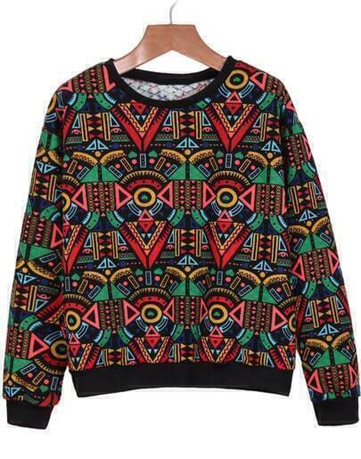 Red Long Sleeve Geometric Print Sweatshirt