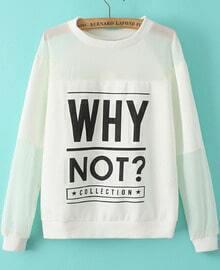 White Long Sleeve Sheer Organza Letters Print Sweatshirt