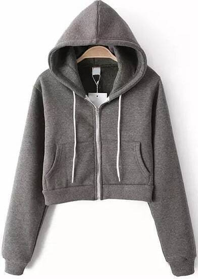 Grey Hooded Long Sleeve Pockets Crop Sweatshirt