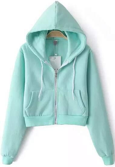 Blue Hooded Long Sleeve Pockets Crop Sweatshirt
