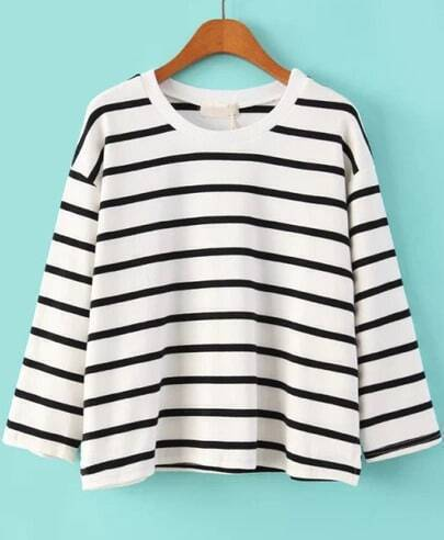 White Long Sleeve Striped Crop T-Shirt