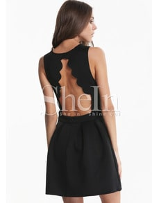 Black Sleeveless Backless Scalloped Pleated Dress